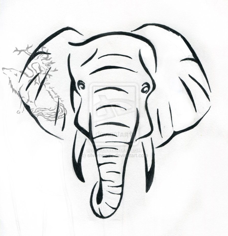 900x933 Simple Elephant Outline Drawing