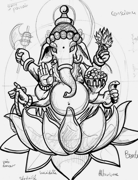 462x600 Ganesh Sketch Sitting On Lotus Drawing Ganesh