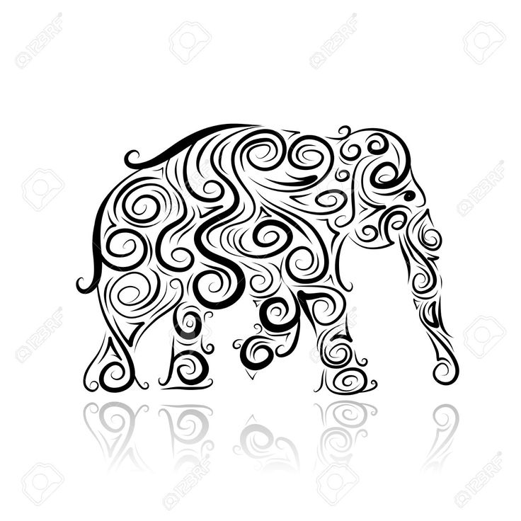 Elephant Spraying Water Drawing