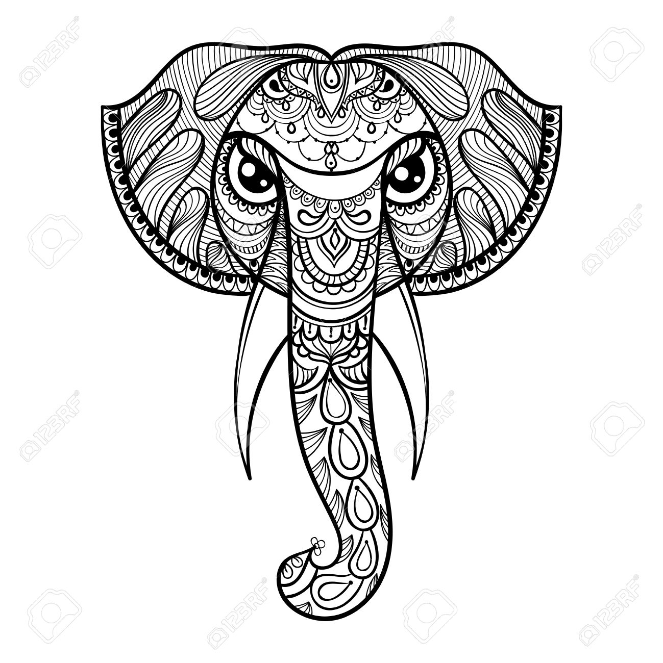 1299x1300 Vector Ornamental Head Of Elephant, Ethnic Zentangled Mascot