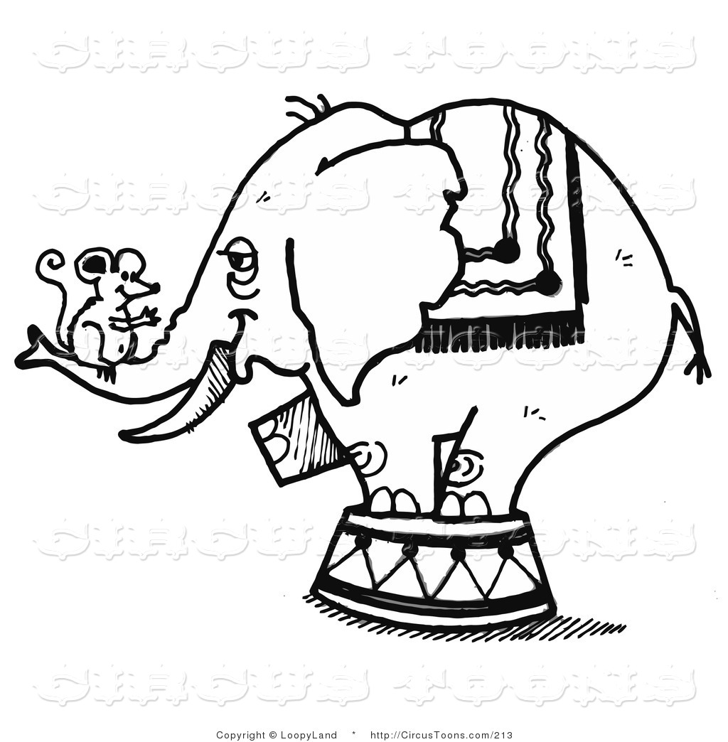 1024x1044 Circus Clipart Of A Black And White Sketched Circus Elephant