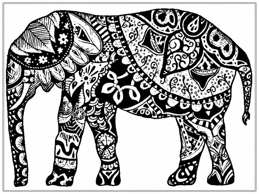 1024x768 Adult Coloring Pages Free African Elephant Realistic