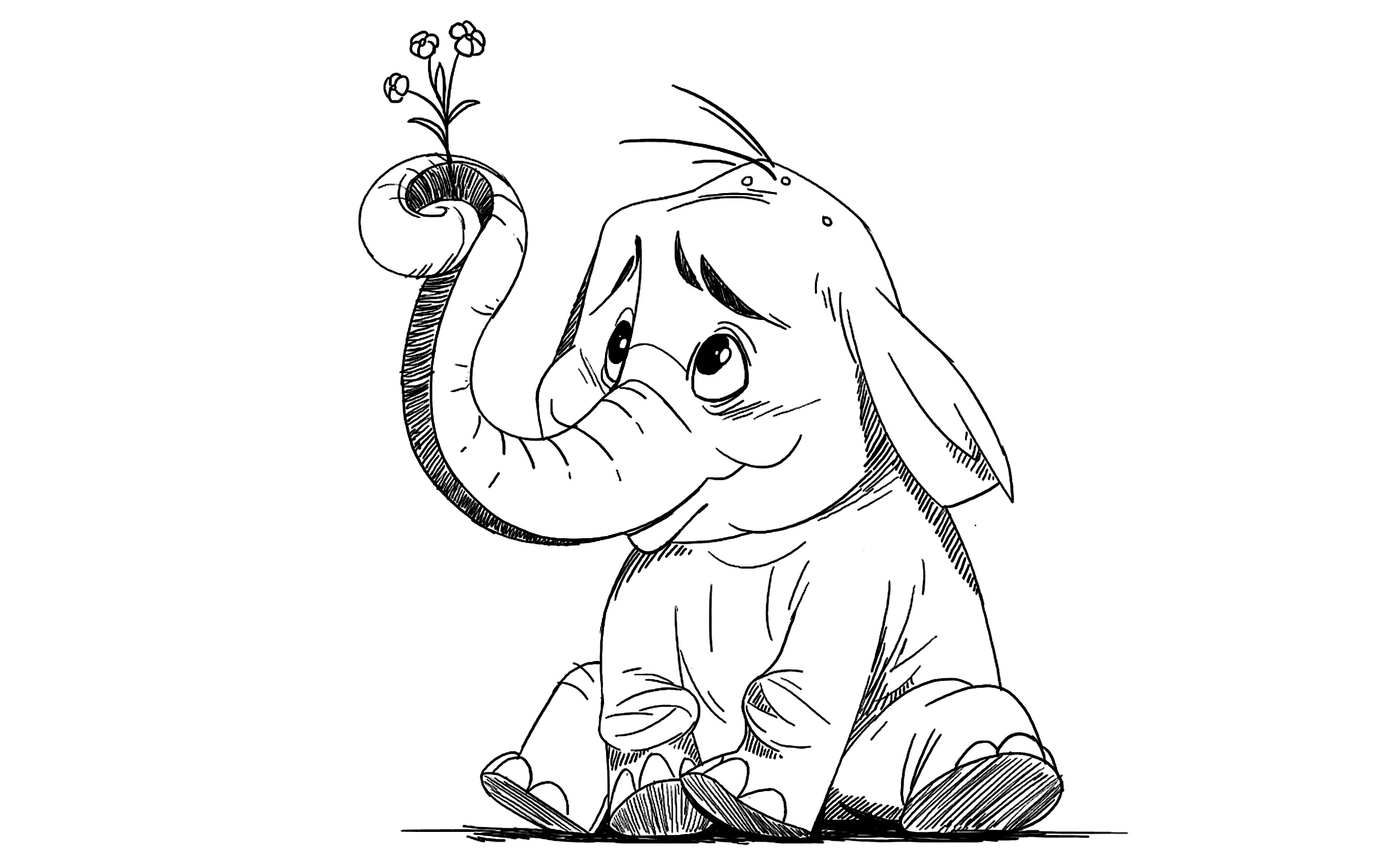 2668x1630 Coloring How To Draw An Elephant Face Cartoon Also A