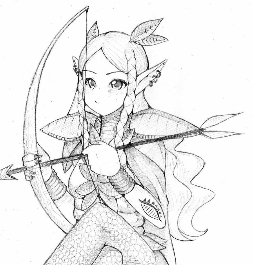873x915 Elf Archer By Dizzychuggernaut