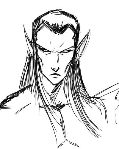 400x500 Elf Sketch By Kiru100