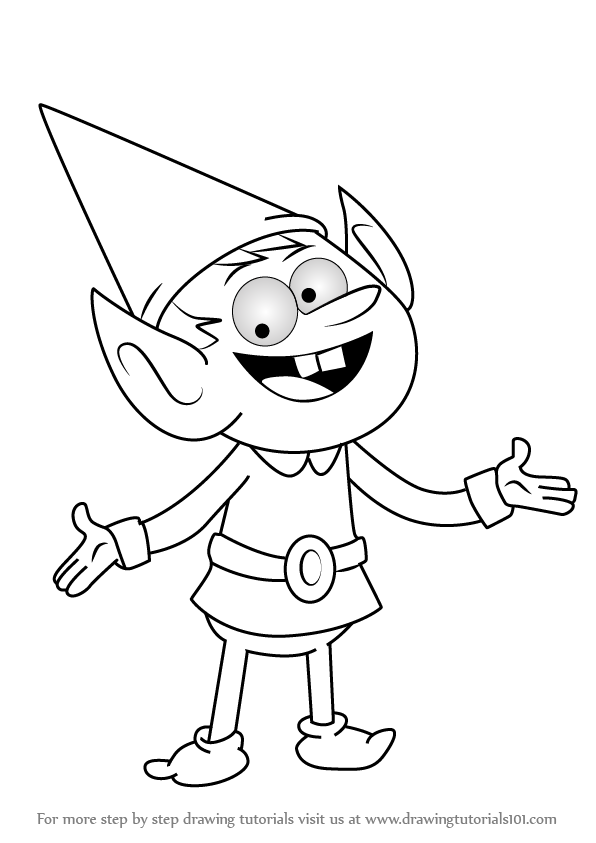 596x843 Learn How To Draw Elf Leader From Uncle Grandpa (Uncle Grandpa