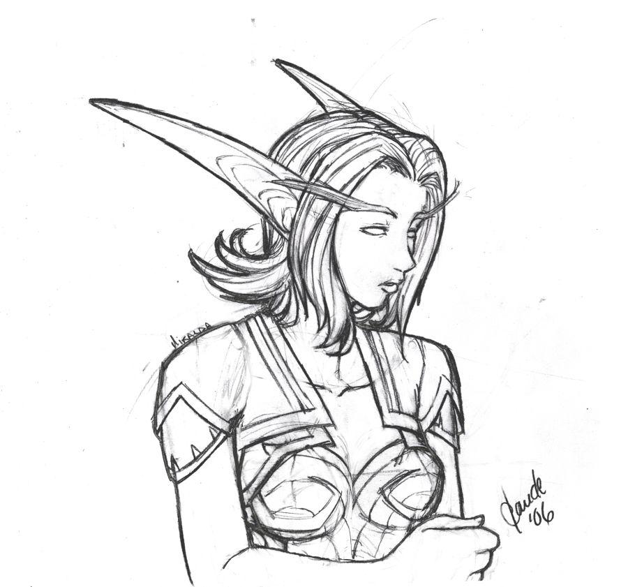 900x841 Night Elf Miralda Sketch By Thally