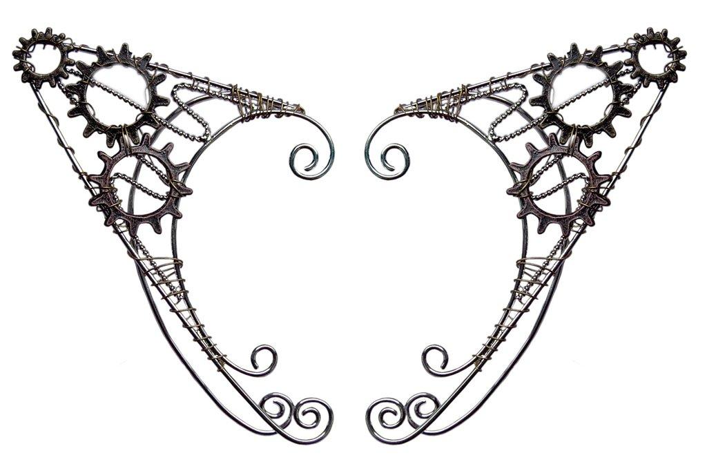 1024x669 Steam Wheel Steampunk Elf Ear Cuff, Renaissance Elf Ear Hair
