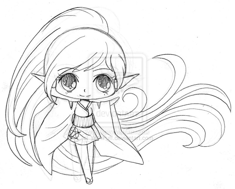 800x643 Little Elf Sketch By Yampuff On Coloring Pages
