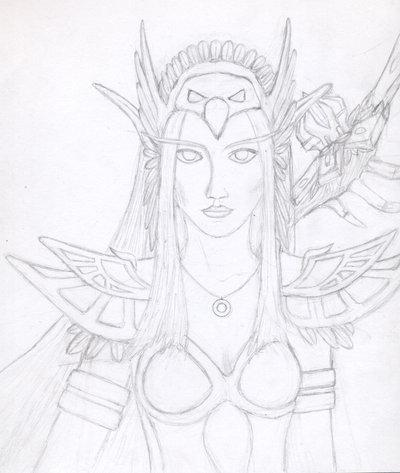 400x473 Night Elf Druid Pencil Outline By Seishyn