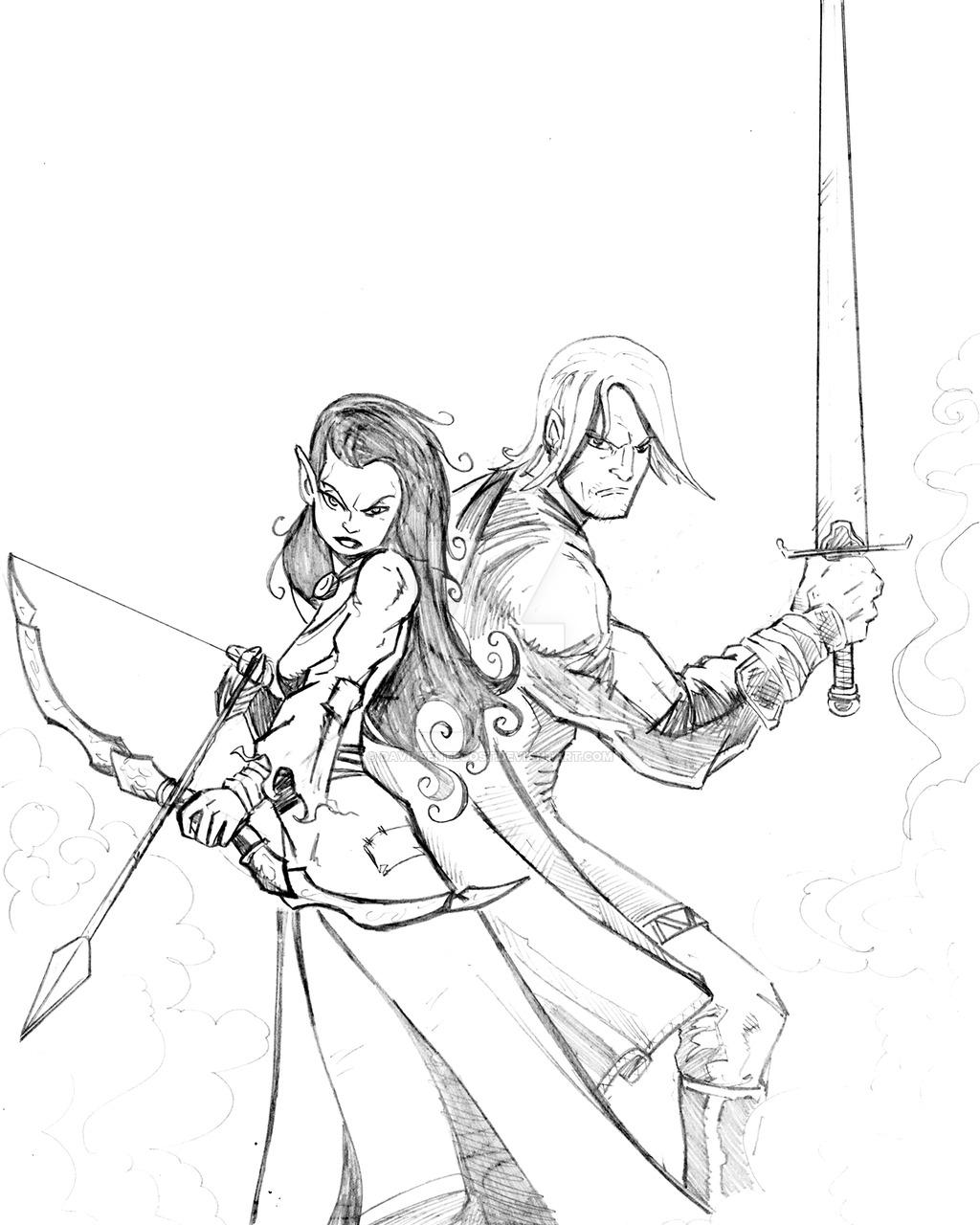 1024x1280 Elf Girl And Warrior Sketch By Davidpentecost