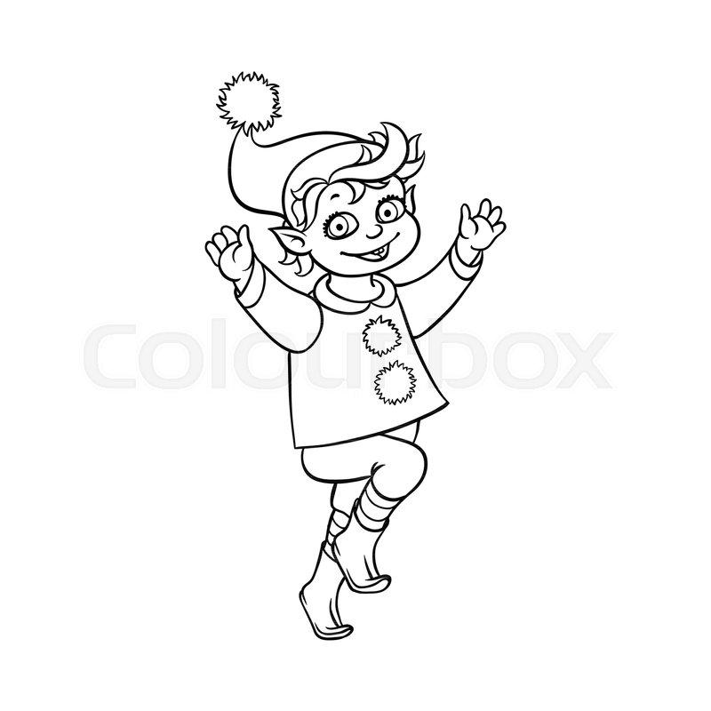 800x800 Vector Flat Monochrome Christmas Elf Boy Dancing Or Jumping