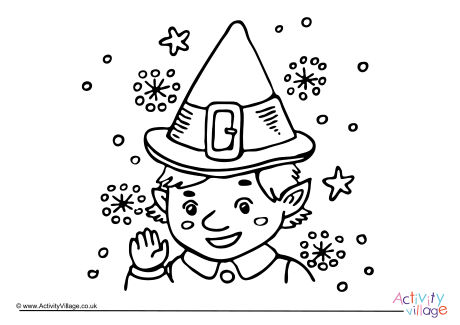 460x325 Christmas Elf Colouring Page 2