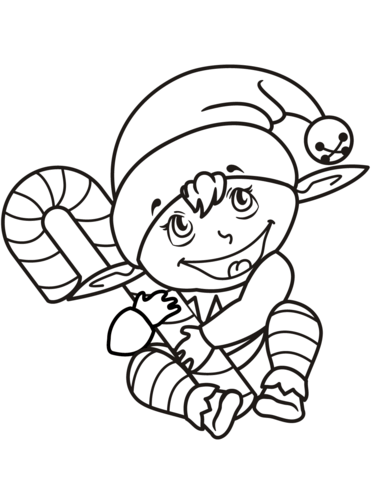 371x480 Cute Christmas Elf With Candy Cane Coloring Page Free Printable