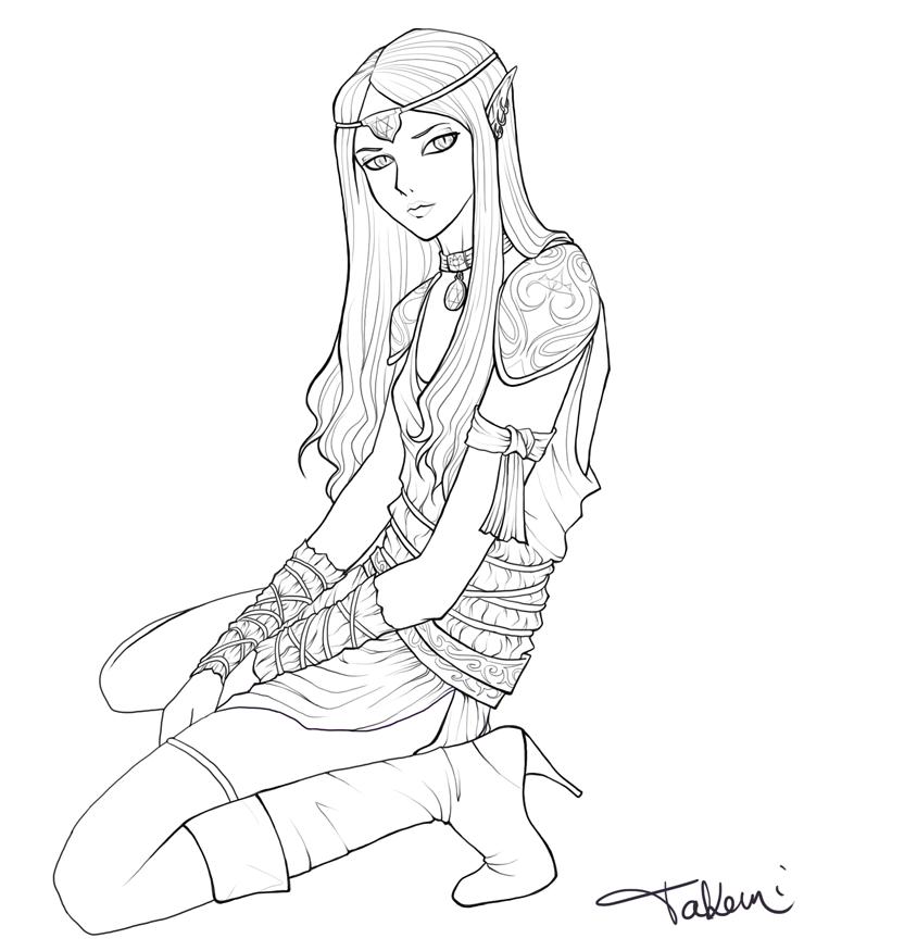 844x875 Dark Elf Line Art By Takemina