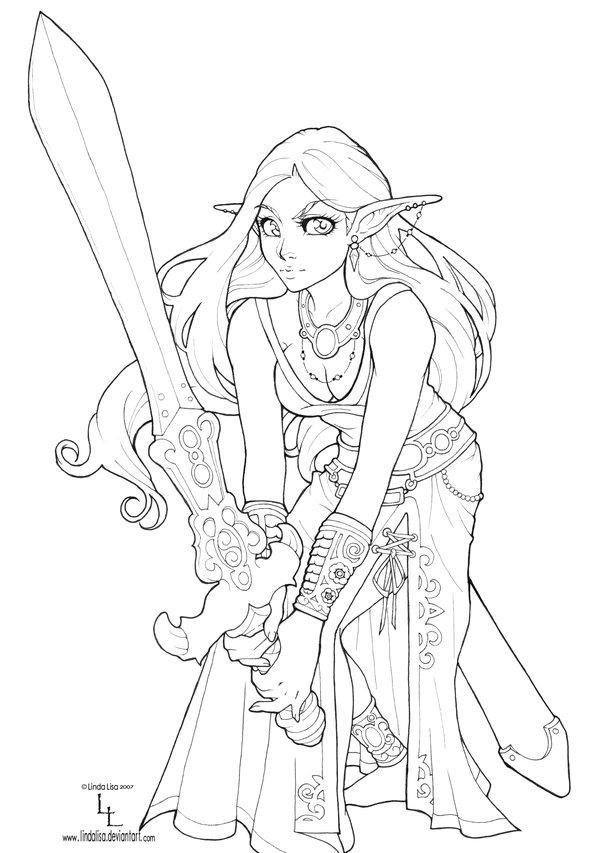 600x853 Drow Elf Line Art By Lindalisa