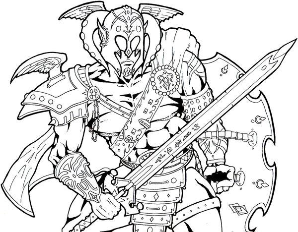 600x468 Elf Warrior Lines By Chrisflaniganart