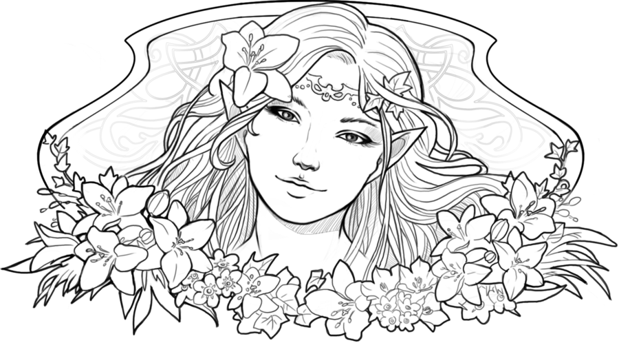 900x498 Elf Lineart By On @ Coloring