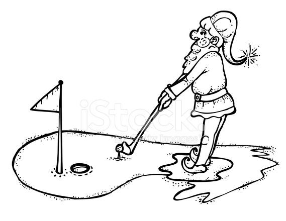 569x440 Line Drawing Of Elf Golfing Stock Vector