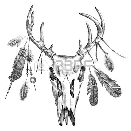 450x450 Beautiful Skull Tattoo Art. Vintage Deer, Bull, Elk, Horns