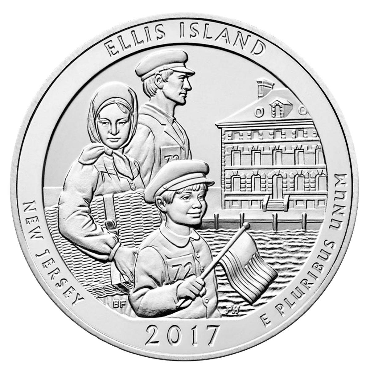 1200x1200 2017 Ellis Island 5 Oz Silver Atb America Beautiful Coin Gem Bu