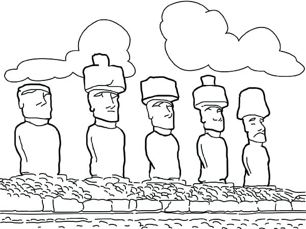 600x450 Island Coloring Page The Monolithic Statues Of Island Coloring