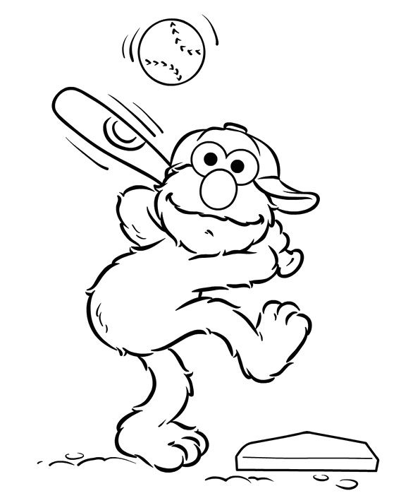 569x712 Elmo Preparing To Hit The Ball Coloring Pages Pinterest
