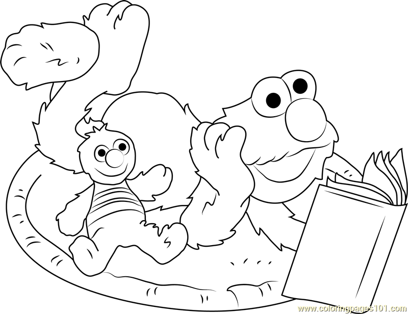 800x616 Elmo Reading Book Coloring Page