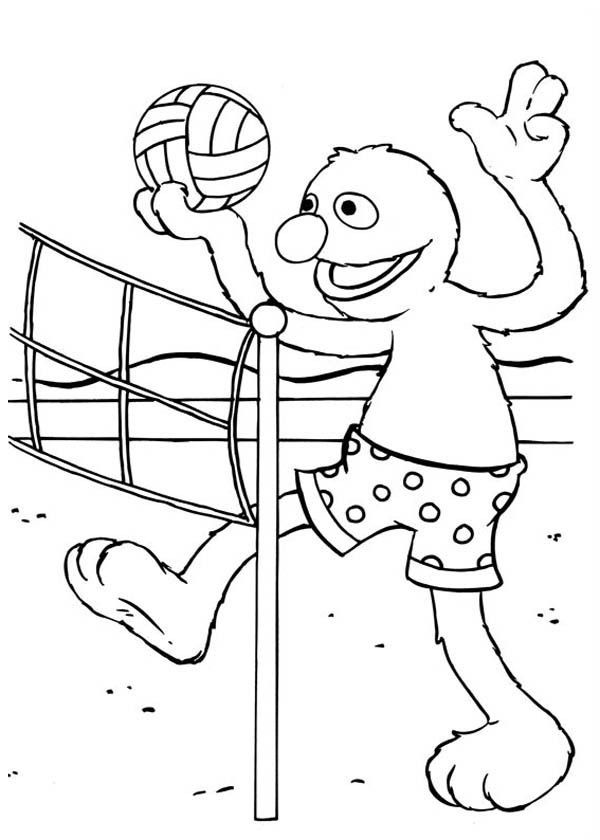 600x840 Sesame Street Elmo Play Volleyball Coloring Page Sesame Street