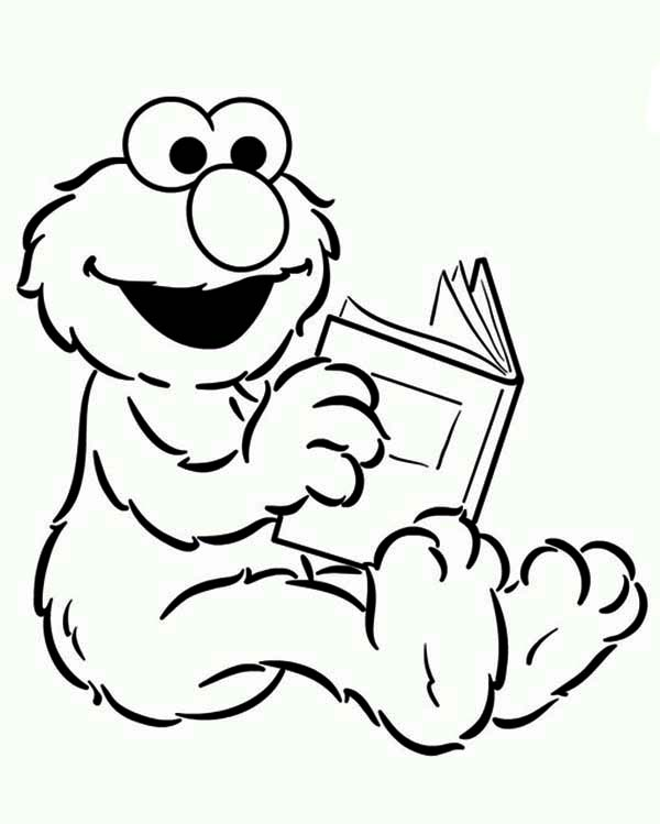 600x749 Baby Elmo Reading A Book In Sesame Street Coloring Page Color Luna