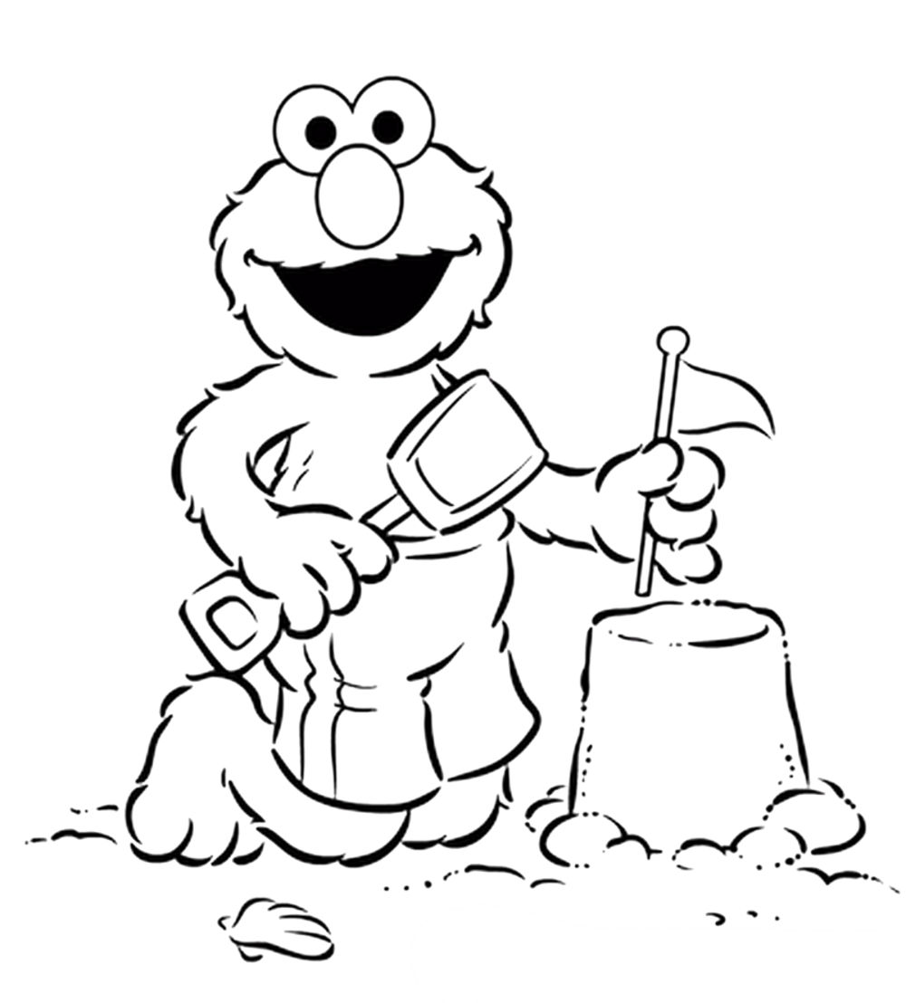 1000x1108 Elmo Coloring Pages Printable In Beach