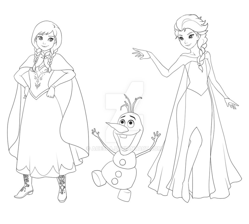 942x848 Frozen Anna Olaf Elsa By Acesla