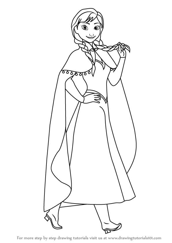 596x843 Learn How To Draw Anna From Frozen (Frozen) Step By Step Drawing
