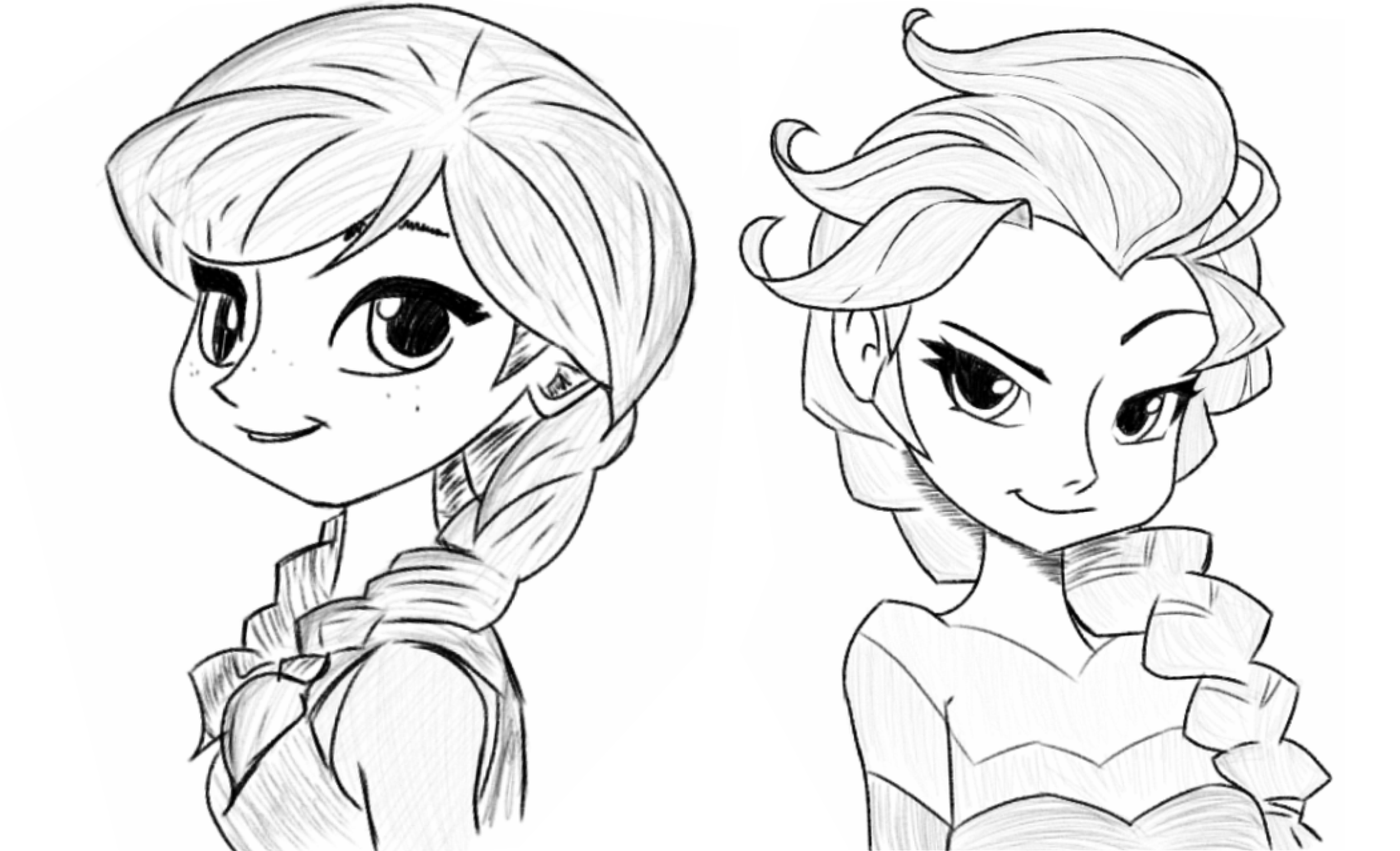 2528x1536 Anna And Elsa Sketch By Ijam1690