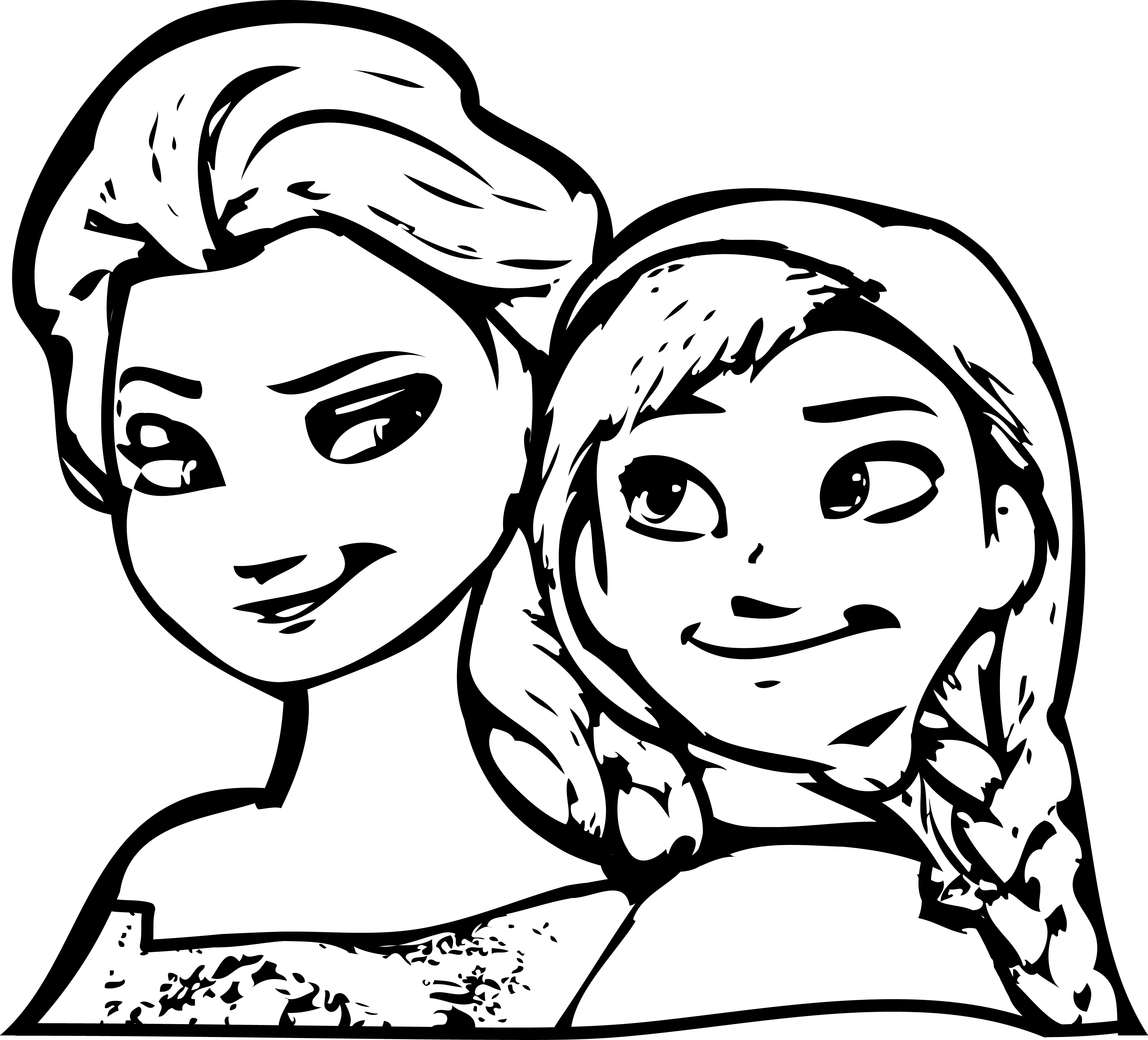 3829x3470 Disneys Frozen Anna And Elsa Together Coloring Page Printable