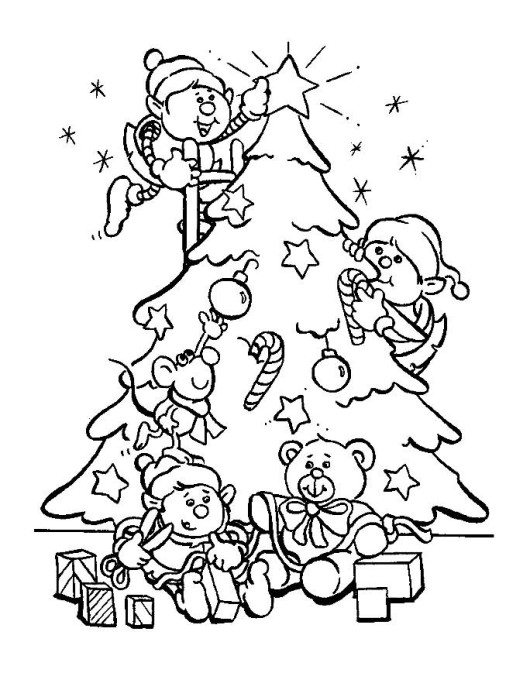 530x697 elf decorate christmas tree coloring pages