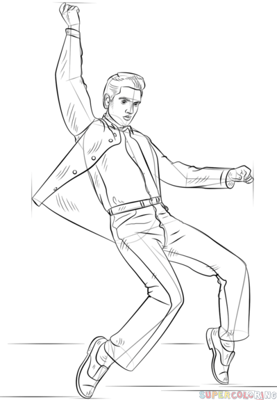 399x575 How To Draw Elvis Presley Step By Step Drawing Tutorials
