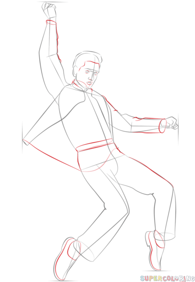 399x575 How To Draw Elvis Presley Step By Step. Drawing Tutorials For Kids