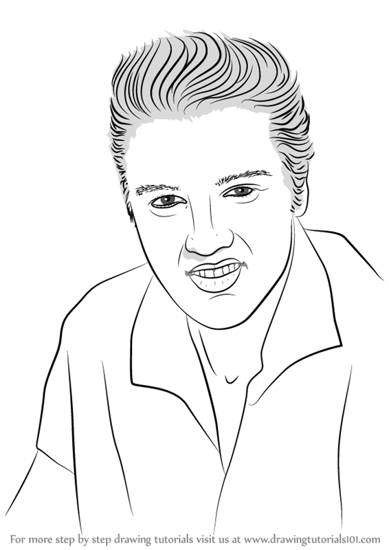 566x800 Learn How To Draw Elvis Presley (Singers) Step By Step Drawing