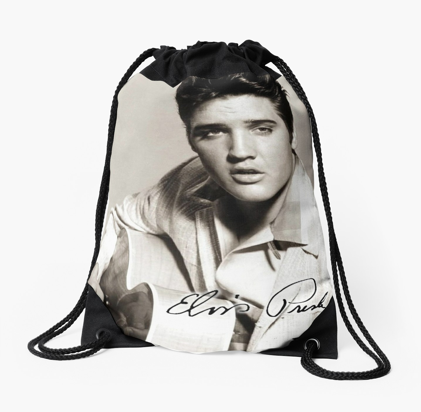1435x1404 Elvis Presley, Signature, Young, With Guitar, Drawstring Bags By