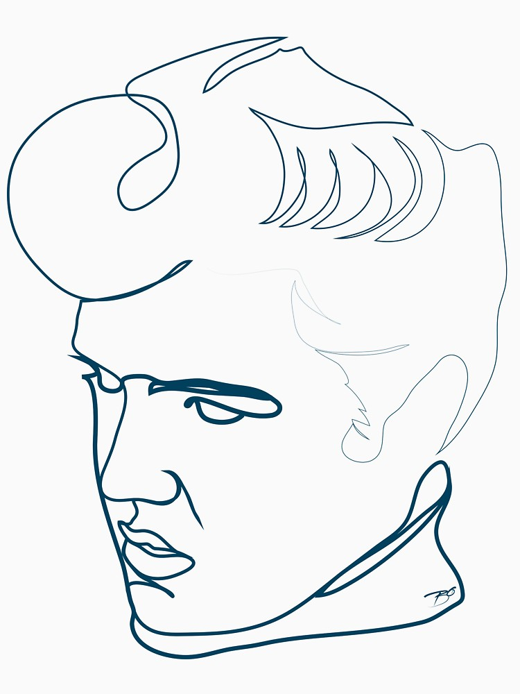 750x1000 Elvis Presley One Line Drawing Women's Fitted Scoop T Shirt By