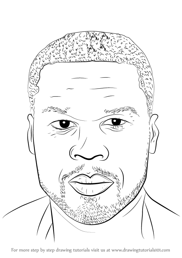 596x842 Learn How To Draw 50 Cent Singers Step By Drawing Tutorials