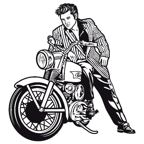 600x600 Vinilos Decorativos Elvis Presley Y Motocicleta Vinilos