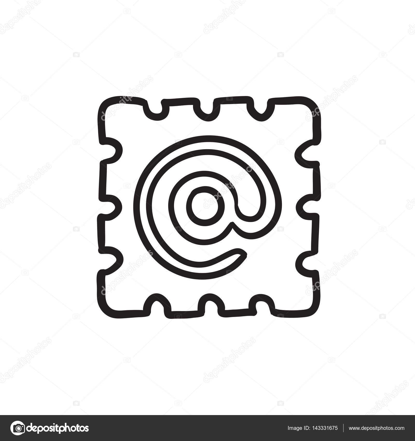 1600x1700 Email Sign Sketch Icon. Stock Vector Rastudio