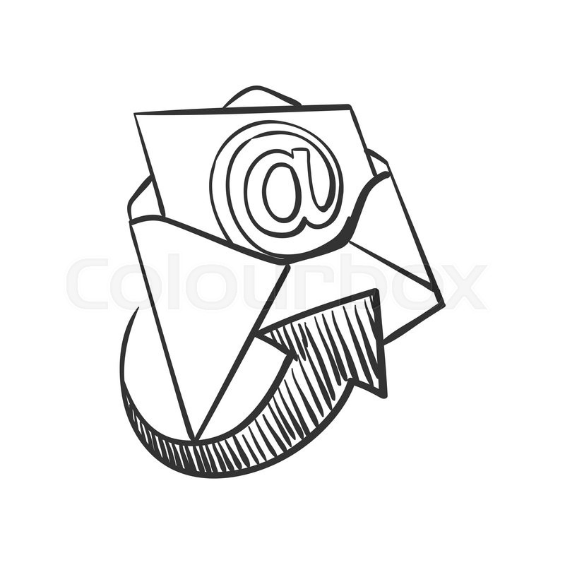 800x800 Hand Draw Doodle Mail, Excellent Vector Illustration, Eps 10