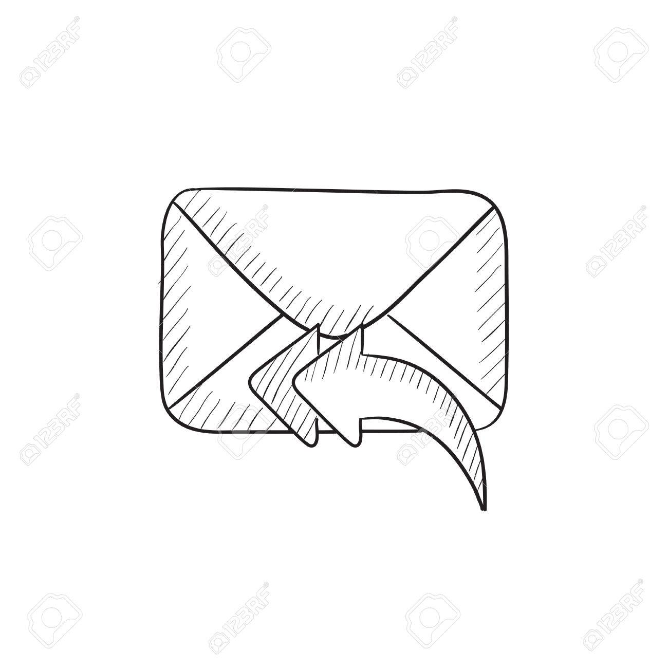 1300x1300 Sending Email Vector Sketch Icon Isolated On Background. Hand