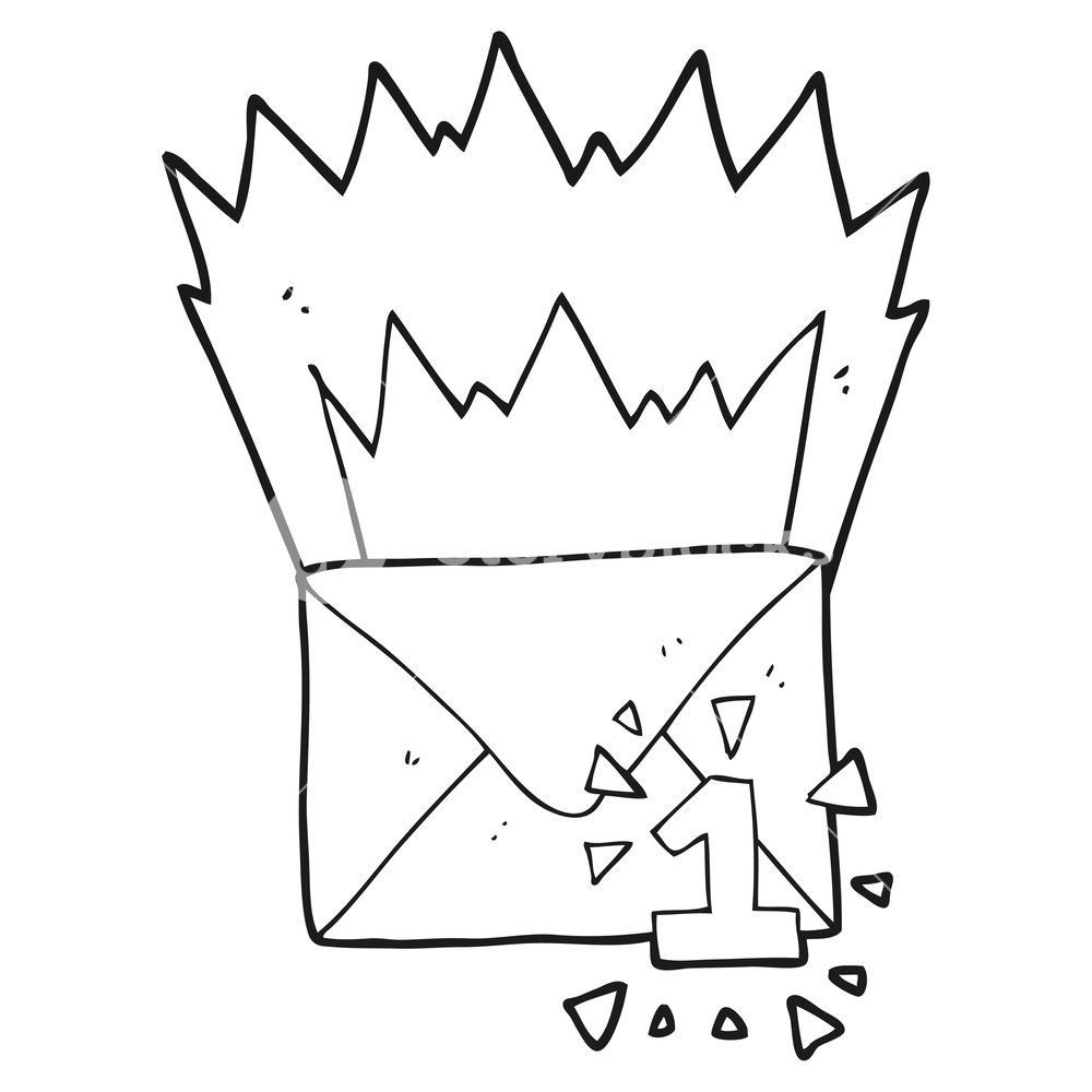 1000x1000 Freehand Drawn Black And White Cartoon Email Message Royalty Free