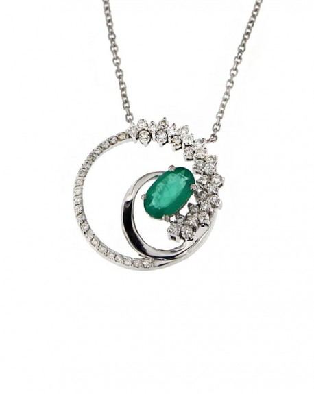 458x575 18k White Gold Necklace, Emerald Amp Diamonds