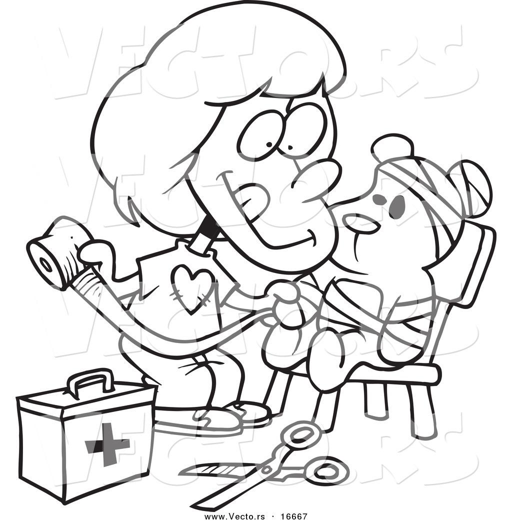 1024x1044 Vector Of A Cartoon Girl Bandaging Up Her Teddy Bear