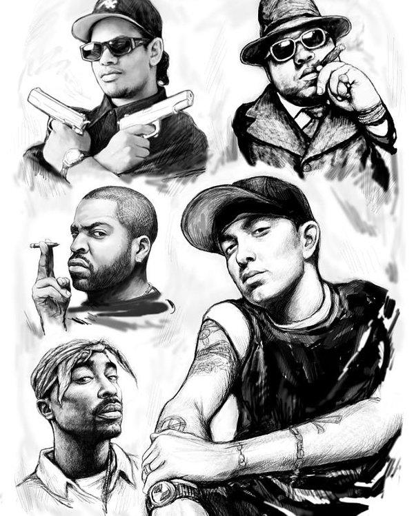 600x749 Eminem With Rap Stars Art Drawing Sketch Portrait Poster By Kim Wang